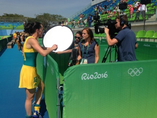Working in the mixed zone - live athlete interview